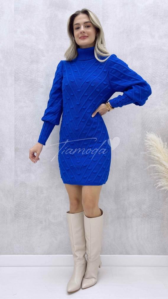 Puanlı Balıkçı Elbise - Saks Mavi