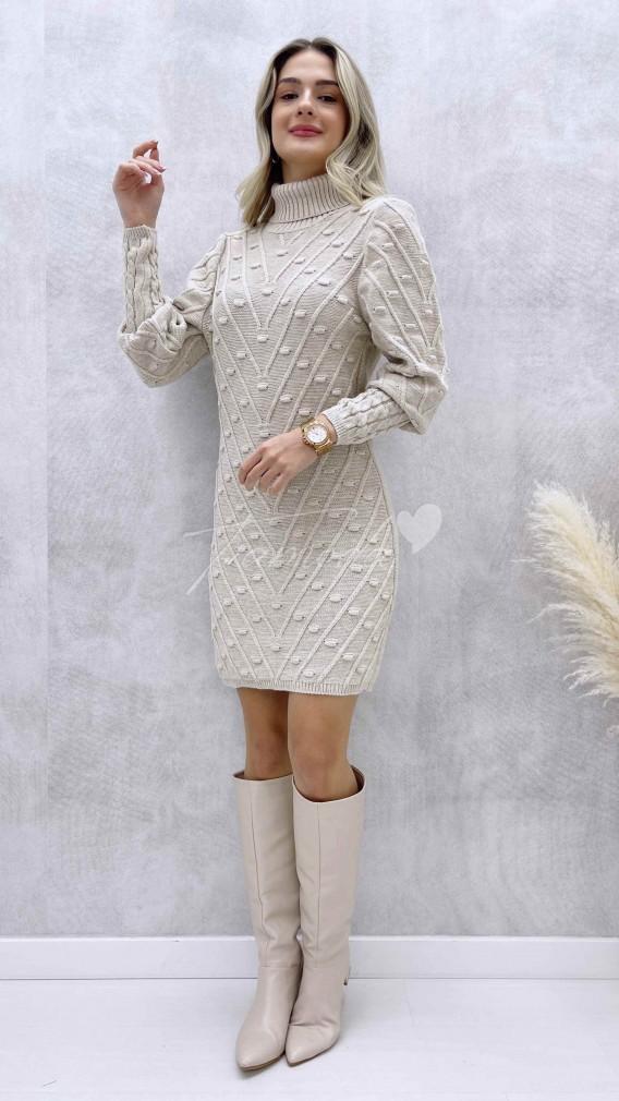 Puanlı Balıkçı Elbise - Krem