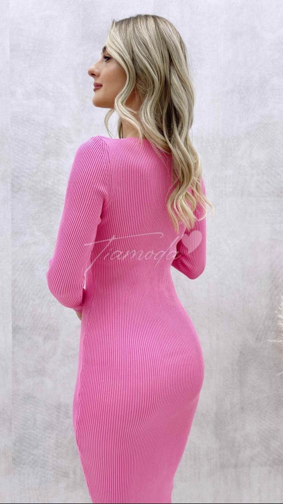 Yaka Çıtçıt Triko Elbise - Pembe
