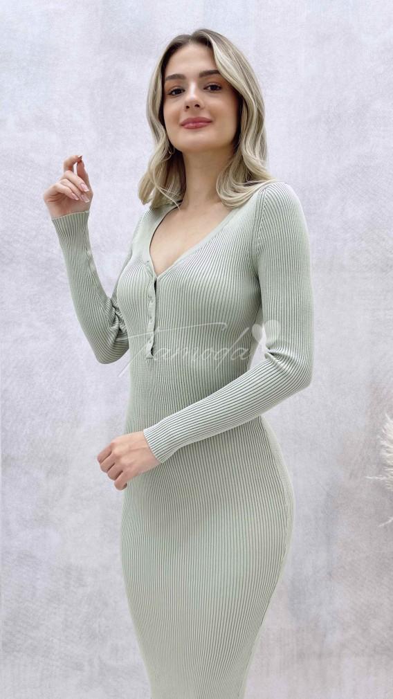 Yaka Çıtçıt Triko Elbise - Yeşil