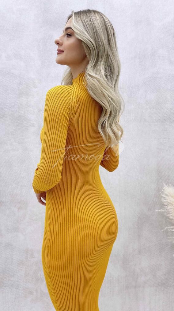 Yarım Balıkçı Kalem Elbise - Hardal