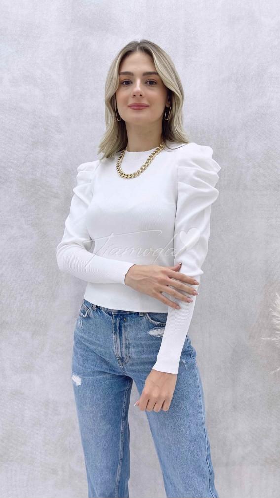Omuz Kabarık Triko Bluz - Beyaz