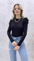 Omuz Kabarık Triko Bluz - Siyah