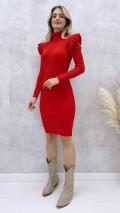 Omuz Detay Triko Elbise - Kırmızı