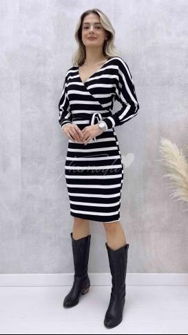 Yarasa Kol Çizgili Elbise - Siyah