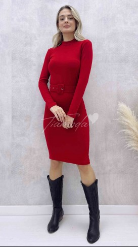 Kemerli Elbise - Kırmızı
