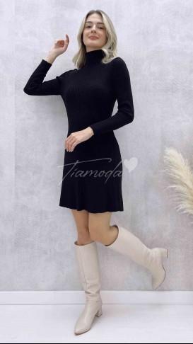Balıkçı Yaka Kloş Elbise - Siyah