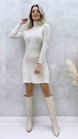 Balıkçı Yaka Kloş Elbise - Krem
