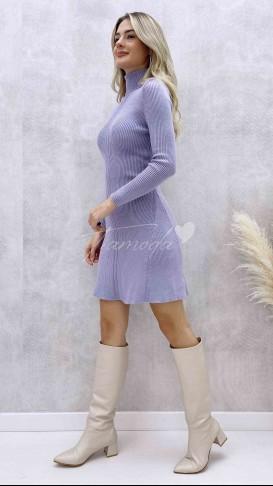Balıkçı Yaka Kloş Elbise - Lila