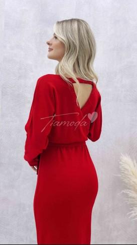 Yarasa Kol Triko Elbise - Kırmızı