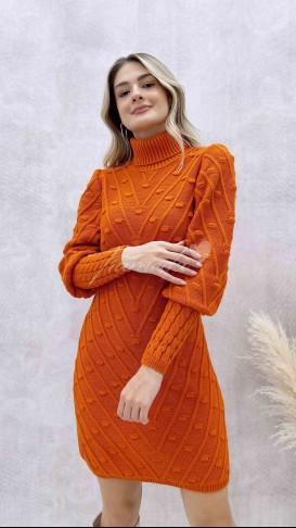 Puanlı Balıkçı Elbise - Turuncu