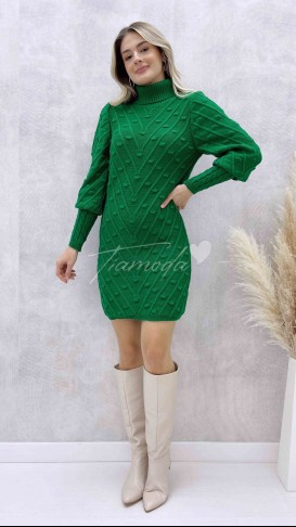 Puanlı Balıkçı Elbise - Yeşil