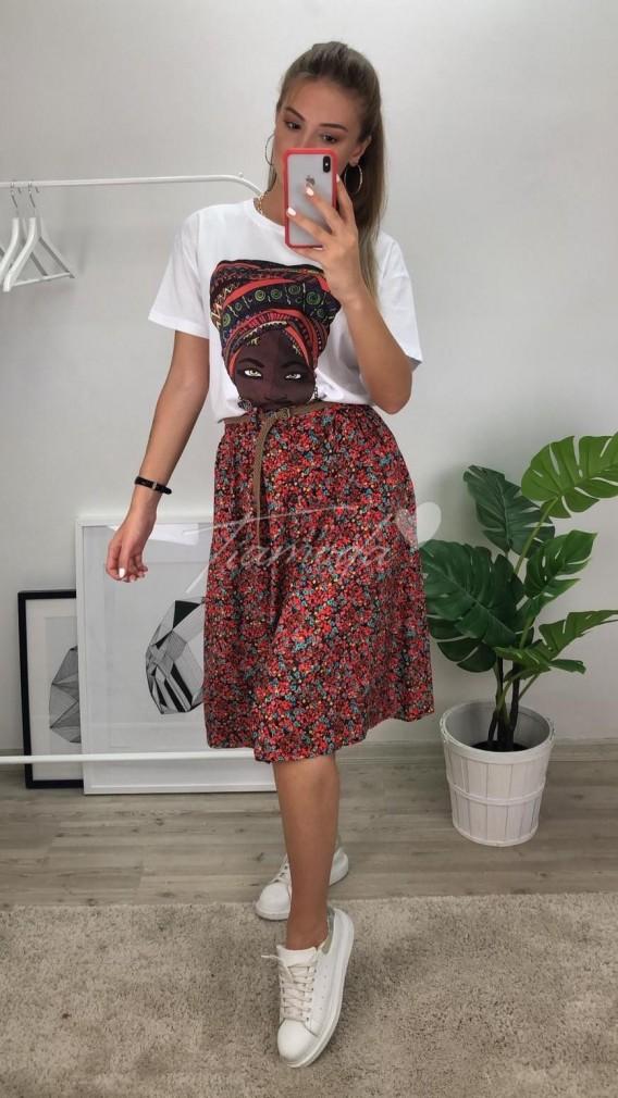 Hasır Kemer Çiçekli Etek - Kırmızı