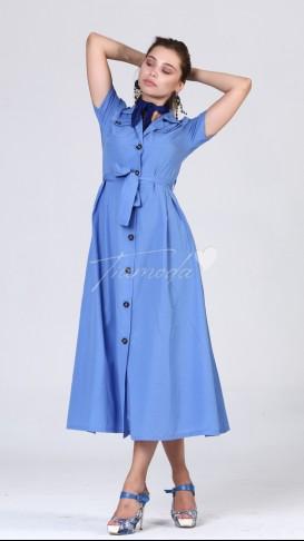 Kısa Kol Düğmeli Elbise - Bebe Mavi