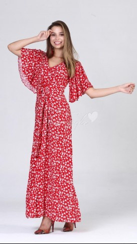 Boydan Düğmeli Yarasa Kol Elbise - Kırmızı