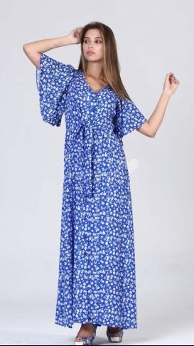 Boydan Düğmeli Yarasa Kol Elbise - Mavi