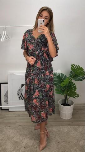 Çıtır Desen Midi Şifon Elbise - Siyah