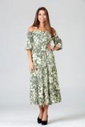 Carmen Yaka Düğmeli Elbise - Yeşil