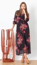 Kruvaze Kırmızı Çiçek Şifon Elbise-Siyah