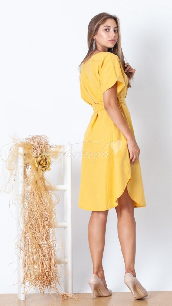 Rahat Kalıp Kemerli Keten Elbise - Sarı