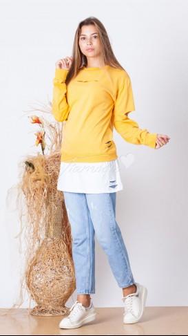 Tshirt Detaylı Yırtık Sweatshirt - Sarı