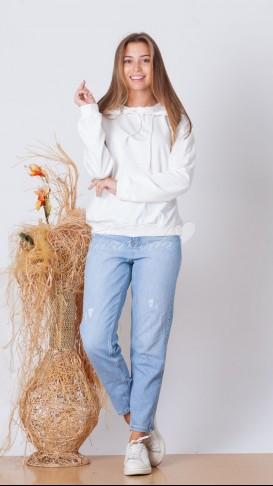 Kapüşonlu Sweatshirt - Beyaz