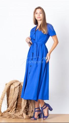 Kısa Kol Düğmeli Elbise - Saks Mavisi