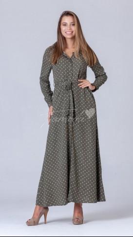 Puantiyeli Boydan Düğmeli Elbise - Haki