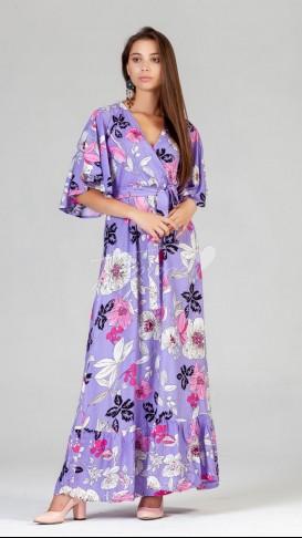 Yarasa Kol Çiçekli Elbise - Lila