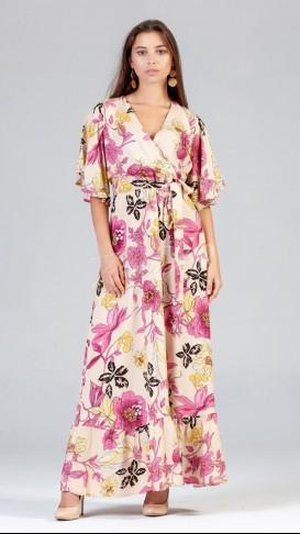 Yarasa Kol Çiçekli Elbise - Krem