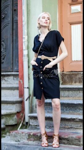 Hasır Kemer V Yaka Elbise - Siyah