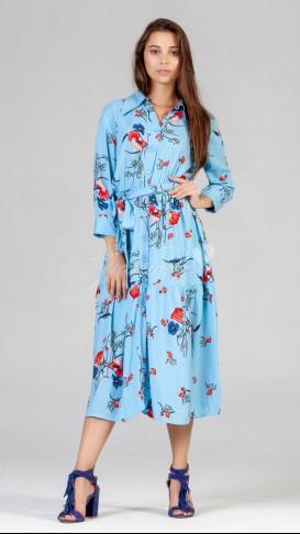 Çiçekli İri Düğmeli Elbise - Bebe Mavi