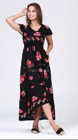 Bel Lastik Püskül Detay Elbise - Siyah