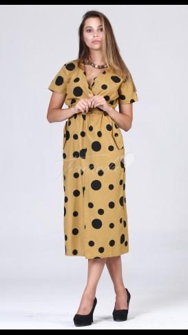 Kruvaze Yaka Puantiyeli Elbise - Hardal
