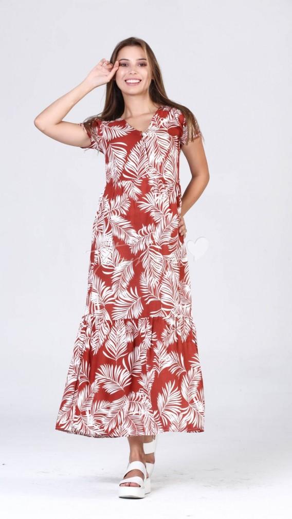 Yaprak Desen Elbise - Kiremit