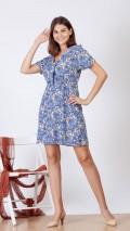 Büzgülü Şal Desen Elbise - Mavi
