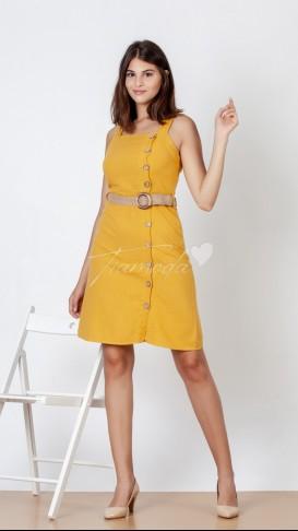 Ahşap Düğme Askılı Elbise - Hardal