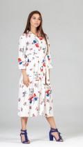 Çiçekli İri Düğmeli Elbise Beyaz